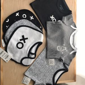 Set of 3 black/white onesies and 3 matching bibs